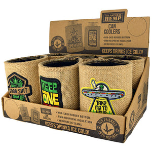 ITEM NUMBER 030000 HEMP CAN COOLER MIX X 6 PIECES PER DISPLAY