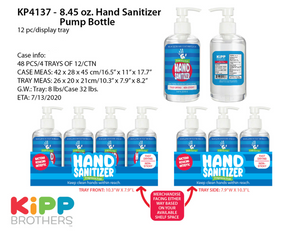 ITEM NUMBER KP4137 8.45OZ HAND SANITIZER W/PUMP 12 PIECES PER DISPLAY