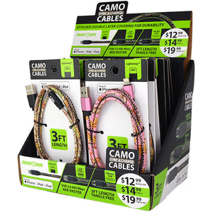 ITEM NUMBER 088266 CAMO CHARGE CABLES 12 PIECES PER DISPLAY