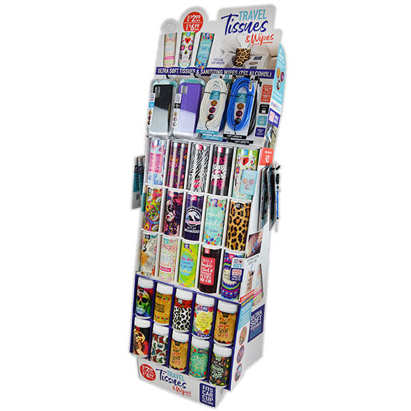 ITEM NUMBER 088291 TRAVEL TISSUE AND WIPES FLOOR DISPLAY 68 PIECES PER DISPLAY
