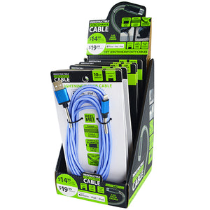 ITEM NUMBER 088294 10FT INDESTRUCTIBLE CHARGE CABLES 6 PIECES PER DISPLAY