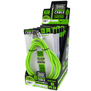 ITEM NUMBER 088295 10FT GLOW IN THE DARK CABLES 6 PIECES PER DISPLAY