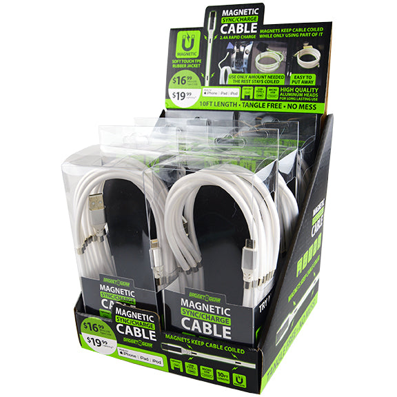 ITEM NUMBER 088297 10FT MAGNETIC CABLES 6 PIECES PER DISPLAY