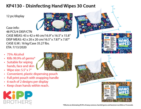 ITEM NUMBER KP4130 DISINFECTING WIPES 30CTDISPENSER 12 PIECES PER DISPLAY