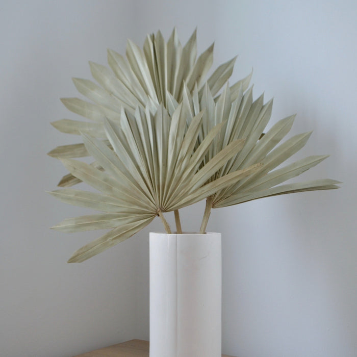 tabletop display: a bunch of 3 natural coloured palm spears in a simple, white vase