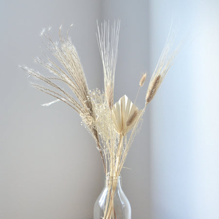 Our little light brown bunch in a glass bottle: carefully curated variety of dried grasses in cream and light brown shades