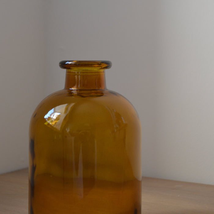Amber Glass Apothecary Vase Small