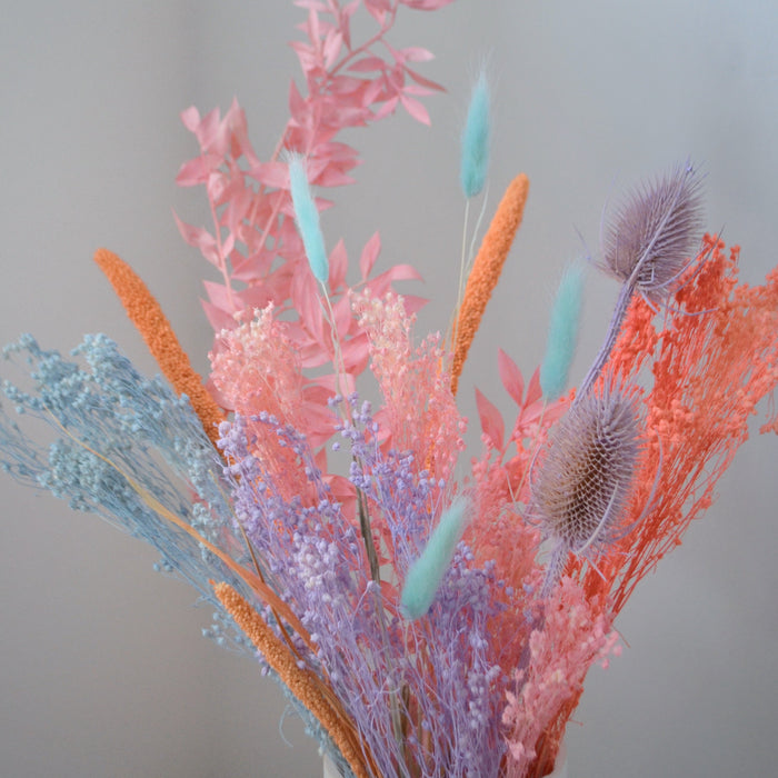 Peach, Blue & Purple Dried Flower Bunch