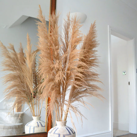 Floor standing arrangement of brown feather pampas bunch in a boho ratan pot