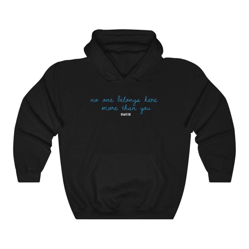 No One Belongs Here More Than You, Bitwise, Black, Unisex Heavy Blend™ Hooded Sweatshirt