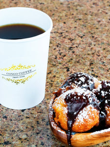 Coffee & Beignets combo (French for donuts, doughnuts): the perfect pairing to start off your morning! The small size comes with 3 beignets (French for donuts, doughnuts): while the medium comes with 5 beignets (French for donuts, doughnuts). Warning this may only tease you and leave you wanting more. In this case we suggest considering ordering a box of beignets (French for donuts, doughnuts)