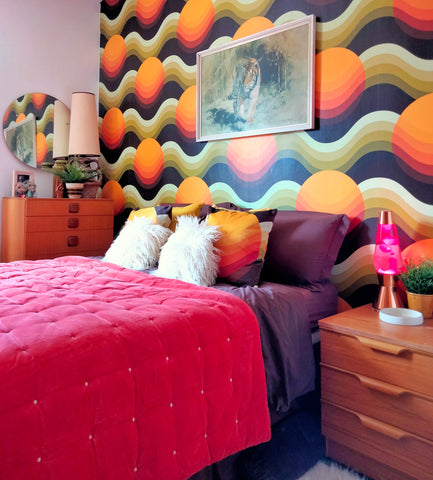 sunrise larbey 70s retro groovy funky wallpaper with lava lamp and west german light location home