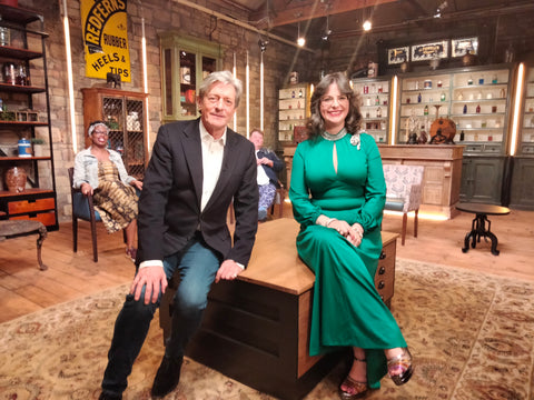 BBC1 The Bidding Room Episode 1 Series 3 Nigel Havers with Estelle Bilson of 70s House Manchester with Adrian Higham and Natasha Francis in background