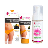 everteen Value Combo - Bikini Line Hair Removal Creme RADIANCE and Foam Intimate Wash 150ml for Women