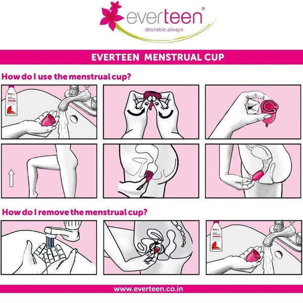 everteen Combo - Large Menstrual Cup (1 Pack) and Menstrual Cup Cleanser (200 ml) for Periods in Women
