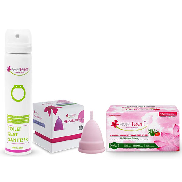 everteen Value Combo - Toilet Seat Sanitizer, Small Menstrual Cup and Intimate Wipes for Women