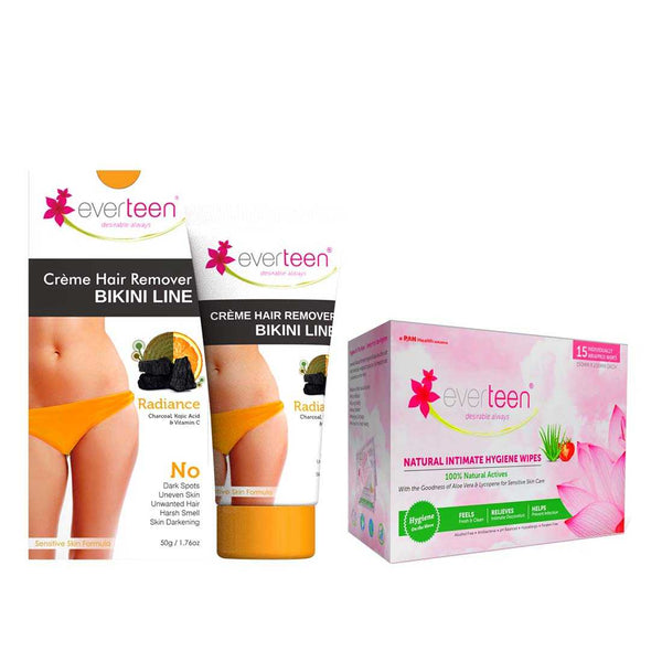 everteen Value Combo - Bikini Line Hair Removal Creme RADIANCE and Intimate Hygiene Wipes for Women