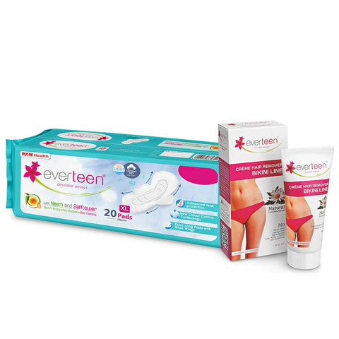 everteen Combo Bikini Line Hair Remover Creme 50g & XL Dry Sanitary Napkin Pads with Neem and Safflower - (20 Pads, 280mm)
