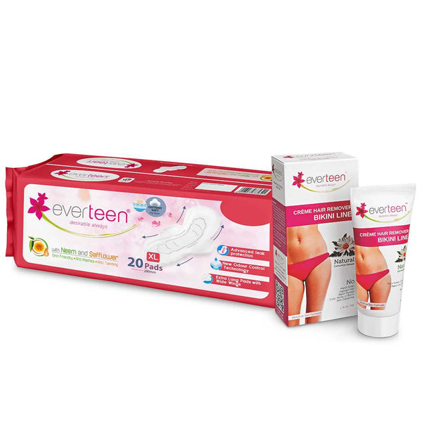 everteen Combo: Bikini Line Hair Remover Creme (50g) & XL Soft Sanitary Napkin Pads with Neem and Safflower (20 Pads, 280mm)
