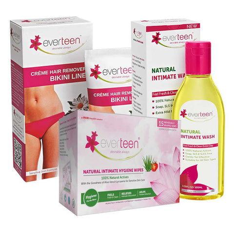 everteen Combo - Natural Intimate Wash, Intimate Wipes and Bikini Line Hair Remover Creme