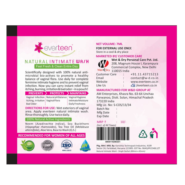everteen Natural Intimate Wash Sachet for Feminine Hygiene on the Move