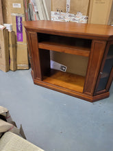 Load image into Gallery viewer, Brown Mahogany Corner Media Console Cabinet