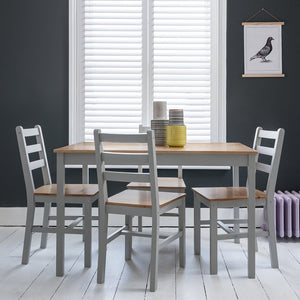 Annika Dining Table in Silk Grey & Pine NO chairs or bench included