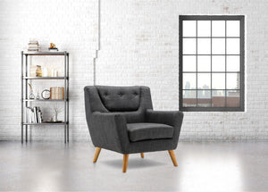 BIRLEA LAMBETH ARMCHAIR GREY EASY CHAIR SCANDINAVIAN MODERN RETRO