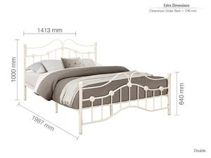 Birlea Canterbury Double 4ft 6inch  Metal Bed in Cream
