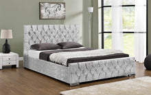 Load image into Gallery viewer, Bluefin Athens Silver Crushed Velvet Fabric Upholstered Ottoman Storage Double Bed Diamond Style