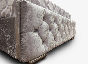 Bluefin Athens Silver Crushed Velvet Fabric Upholstered Ottoman Storage Double Bed Diamond Style