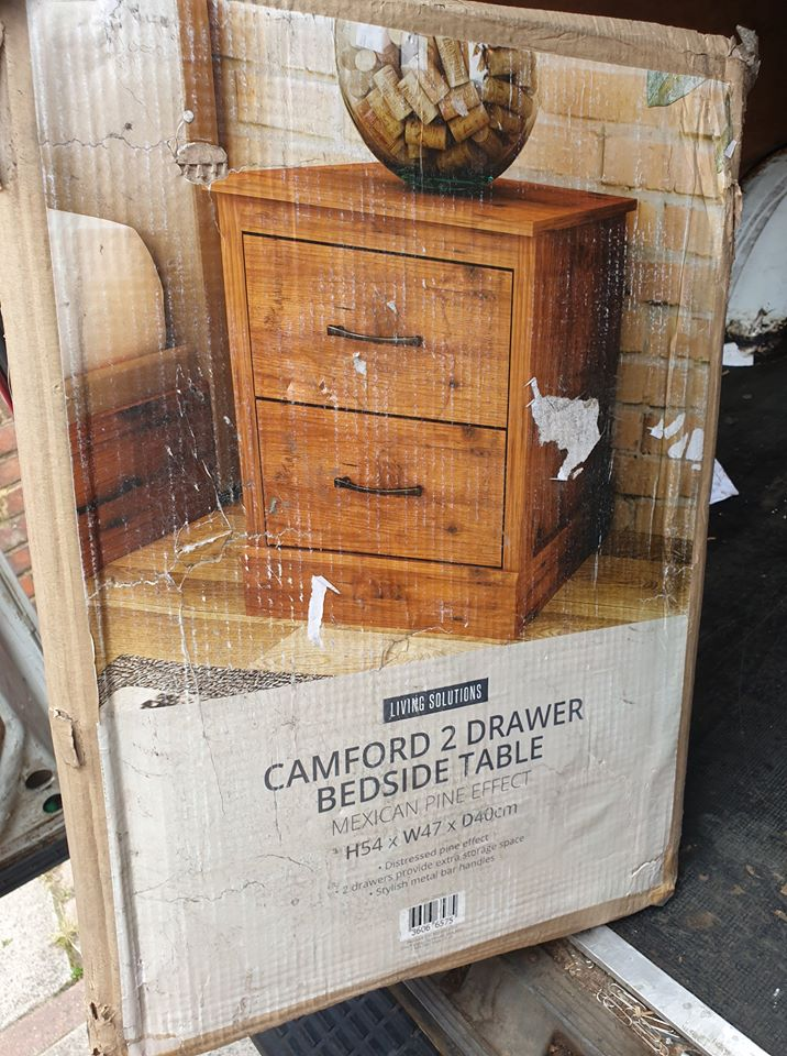 Camford Two Drawer Bedside Table, Mexican pine effect