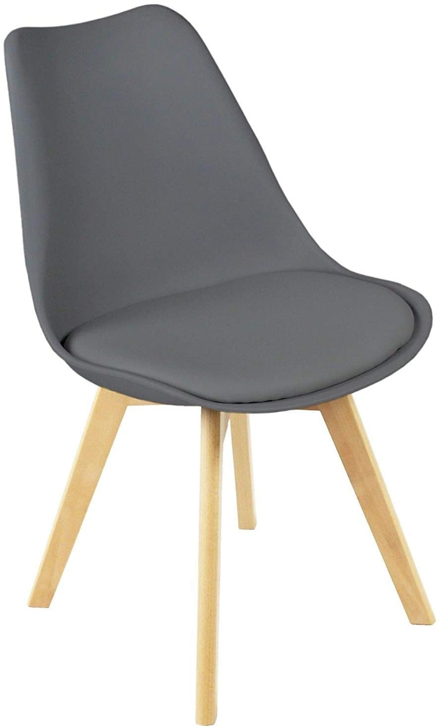Charles Jacobs 2 x Modern Dining Chairs With Solid Beech Legs - Grey