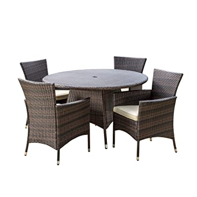 Christopher Knight Home Rodgers Outdoor Wicker Dining Table, Multibrown (NO CHAIRS, TABLE ONLY)