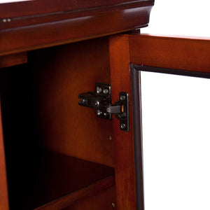 Brown Mahogany Corner Media Console Cabinet