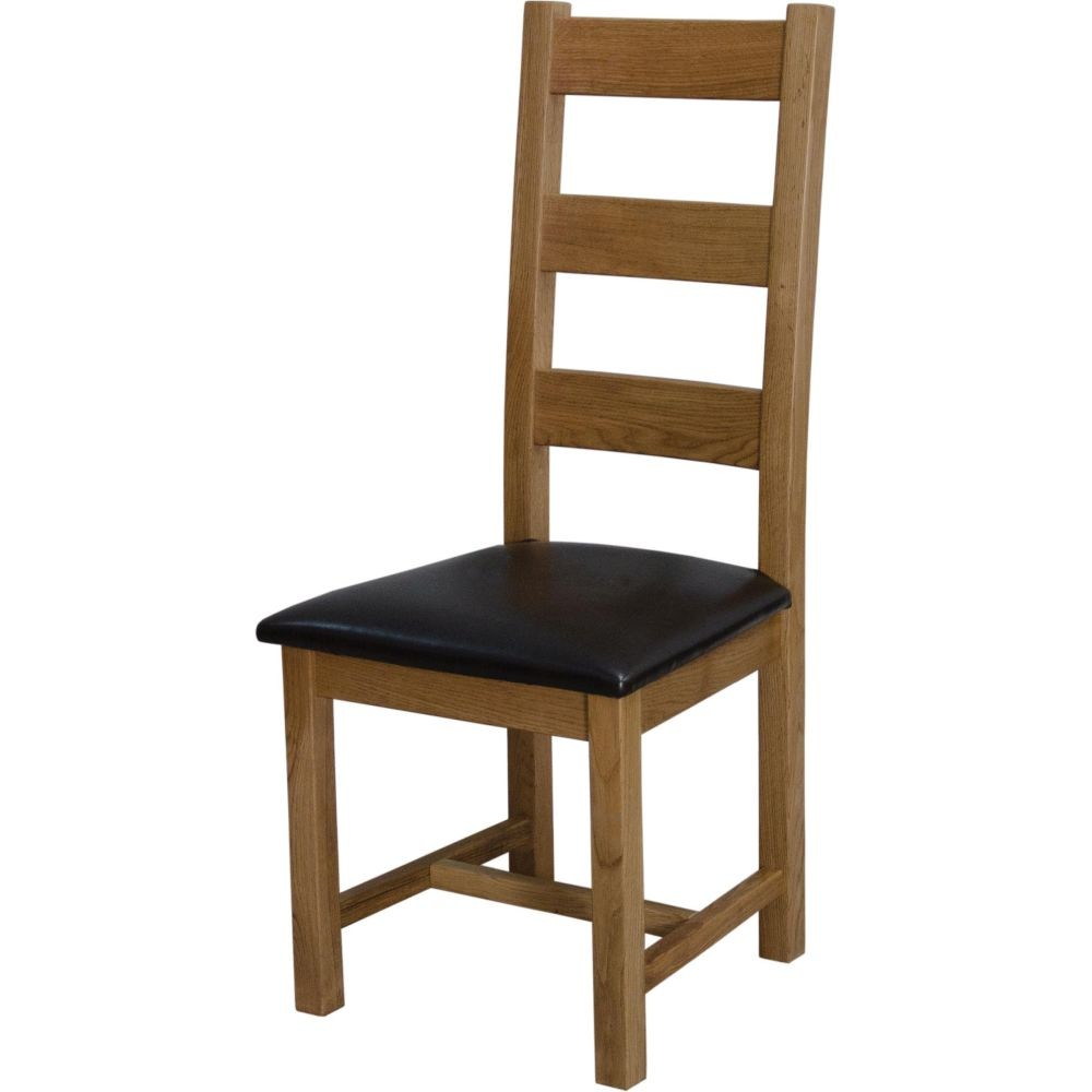 Pair Deluxe Rustic Oak Ladder Back Dining Chairs