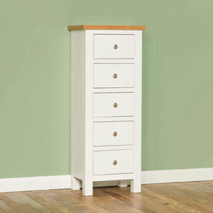 ROSELAND FURNITURE FARROW WHITE 5 DRAWER TALLBOY CHEST
