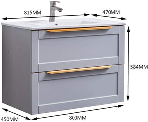 GLANZHAUS Modern Light Grey Bathroom Wall Hung Vanity Unit 800mm, SINK NOT INCLUDED