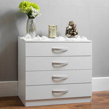 Load image into Gallery viewer, Hulio White 4 Drawer Chest