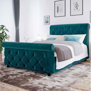 Joanna King size Upholstered Chesterfield Sleigh Bed mallard by Marlow home