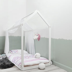 Kara Single 4 Poster Bed Frame in White, mattress not included