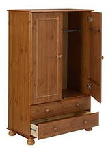 Load image into Gallery viewer, Malmo Stained Pine 2 Drawer Double Wardrobe (H)1373mm (W)883mm (D)480mm