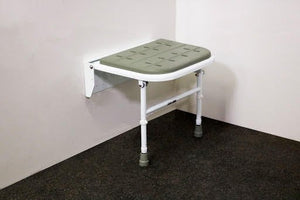 Nymas Premium Grey Padded Wall Mounted Shower Seat with Legs - SB-080/GY