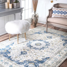 Load image into Gallery viewer, Nuloom Verona Vintage Persian Blue 9 foot x 6 foot 7inch blue