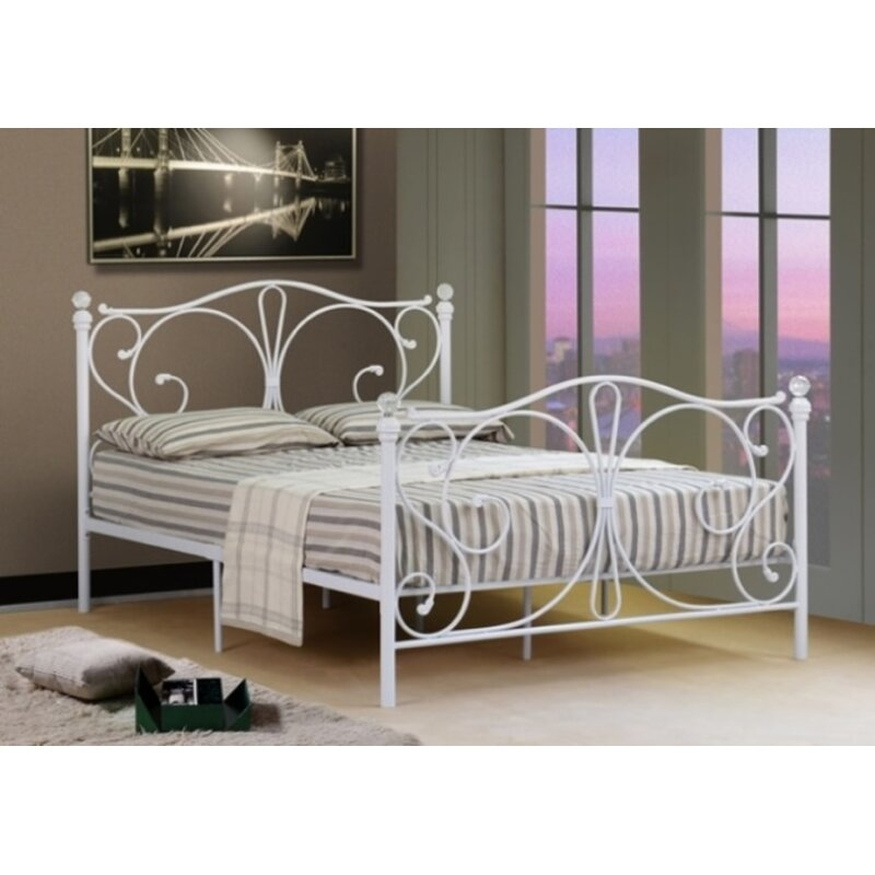 Orourke Christina King Size Metal Bed Frame White