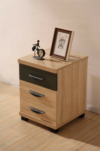 PACIFIC 3 Drawer Bedside Table Cabinet - Oak & Grey Luxury Bedroom Storage