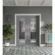 "Load image into Gallery viewer, Internal Palermo Pre-Finished Light Grey Door Pair with Clear Glass 78x46"", 1981x1168x40mm"