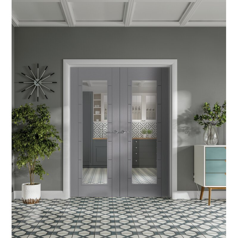 Internal Palermo Pre-Finished Light Grey Door Pair with Clear Glass 78x46