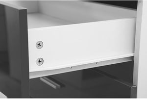 Reflect - 2 Drawer Bedside Table in Gloss Grey/Matt White