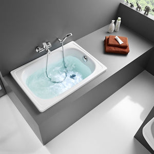 Roca Contesa Single Ended Rectangular Steel Hip Bath - 1000mm x 700mm - 0 Tap Hole